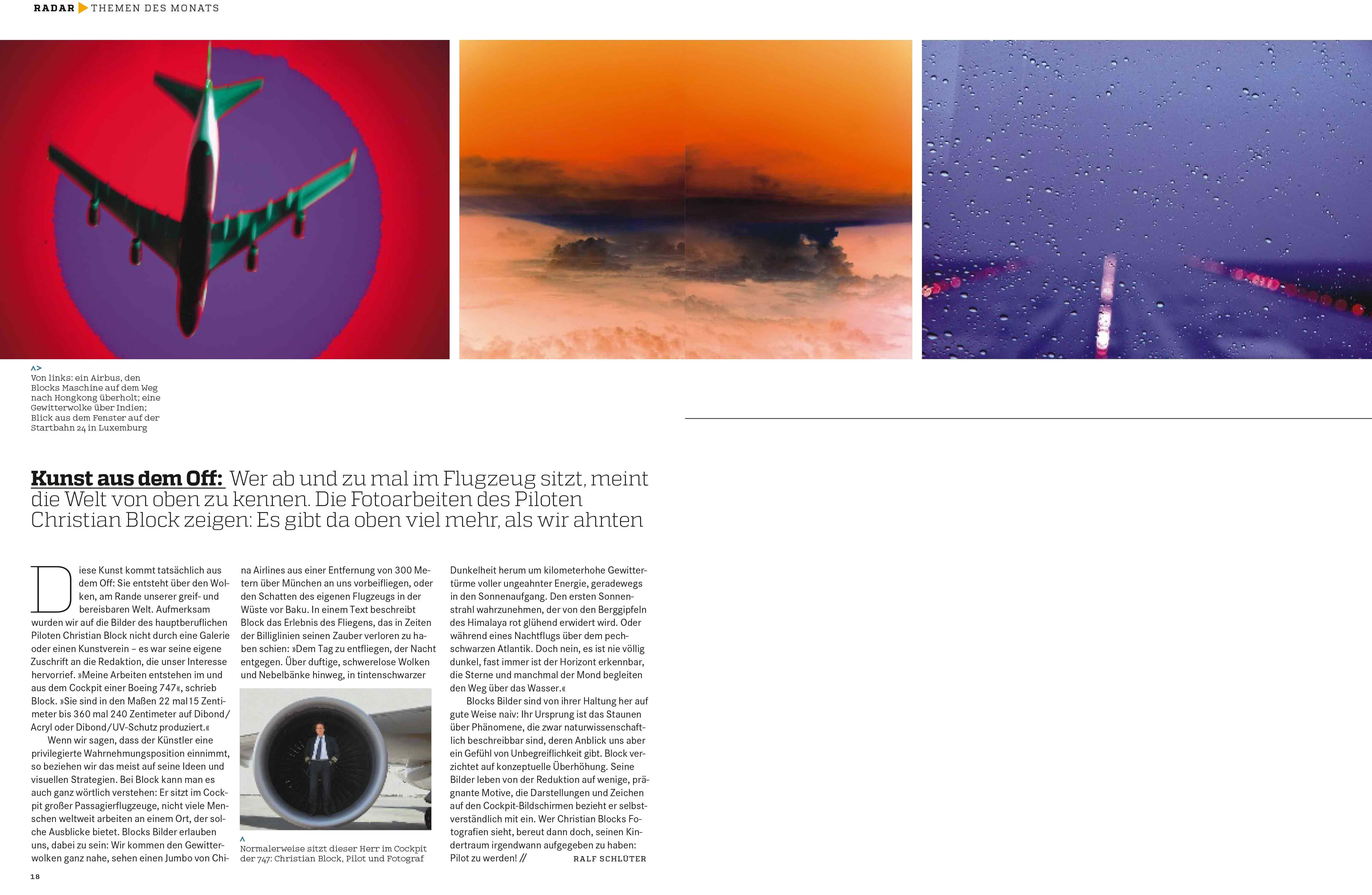 art das Kunstmagazin – Juli 2014 – Radar >> Themen des Monats. PDF >> (1 mb)